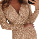 Apricot Sequins Wrapped Ruched Irregular Dresses