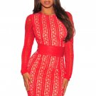 Red Lace Nude Illusion Corset Belted Mini Dress