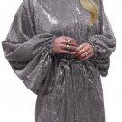 Gray Oversized Caftan Mini Dress In Sequin