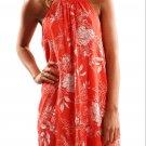 Orange Floral Print Sleeveless Mini Dresses