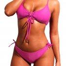 Rosy Lace-up Grommet Detail 2pcs Bikini Swimsuit