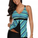 Greenish Fish Scale Print Tankini and Short Set