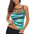 Greenish Tie Dye Striped Strappy High Neck Tankini Top