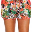 Floral Print Lacy Shorts Attached Swim Bottom