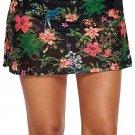 Black Floral Print Lacy Swim Skirt
