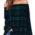 Green Off The Shoulder Single Breasted Plaid Blouse