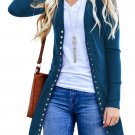 Blue Long Sleeve Snap Button Down Knit Ribbed Neckline Cardigans