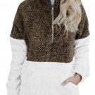 Brown White Zip Neck Oversize Fluffy Fleece Pullover