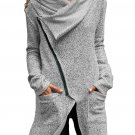 Women's Gray Zippered Shawl Collar Jacket