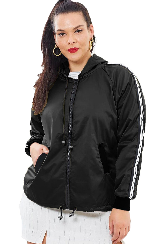 Black Striped Sleeve Hooded Parker Jacket