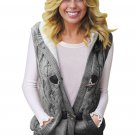 Gray Cable Knit Hooded Sweater Vest