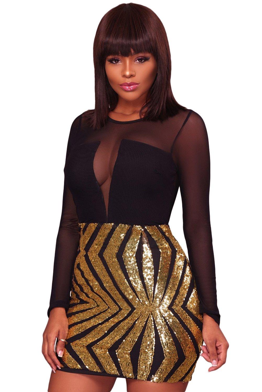 Black Sheer Mesh Long Sleeve Gold Sequin Club Dress