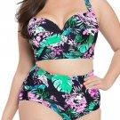 Tropical Floral Push Up Bikini Plus Size High Waist Swimsuit