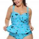 Blue Summer Beach Print Plus Size Ruffled Tankini with Panty