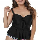 Black Plus Size Ruffled Tankini with Floral Panty