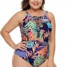 Colorful Tropical Jungle Crisscross Plunge V Neck Plus Maillot Swimwear