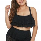 Black Plus Size Flouncy Lace Two Piece Swimsuit