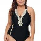 Black Plus Size V Neck Cutout Tankini