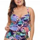 Plus Size Tropical Print Ruffle Two Piece Swimwear