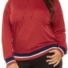 Tricolor Striped Trim Red Plus Size Hoodie