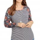 Plus Size Gray Floral Sleeves Striped Baseball Tee