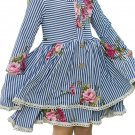 Blue Sweet Striped Floral Kids Dress