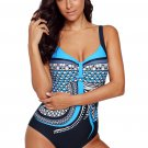 Light Blue Tribal Print One Piece Swimsuit