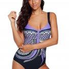 Purple Tribal Print One Piece Swimsuit