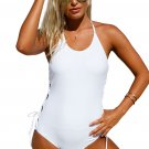 White Halter Neck Lace up Sides Maillot