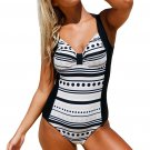 Knot Center Dots and Stripes Front Black Back Maillot
