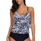Monochrome Print Ruffle Front Maillot Swimsuit