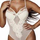 White Sheer Eyelash Lace Teddy Bodysuit