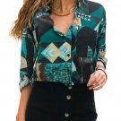 Green Abstract Color Block Pattern Shirt