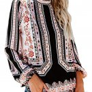 Floral and Tribal Print Smocked Long Sleeve Blouse