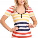 Yellow Striped Henley T Shirt