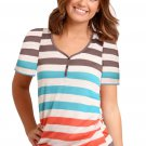 Sky Blue Striped Henley T Shirt