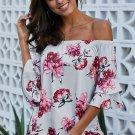 Gray Bring on The Floral Off The Shoulder Top