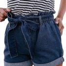 Medium Blue Paper Bag Waist Denim Shorts
