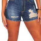 Dark Denim Ripped Destroyed High Waist Shorts