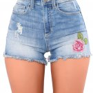Rose Embroidered Whiskered Cuff Medium Blue Denim Shorts