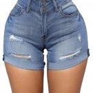 Faded Wash Ultrashort Turn-up Short Jeans