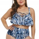 Plus Size Blue Strappy High Waist Swimwear