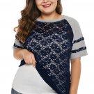 Blue Lace Panel Raglan Sleeve Plus Size T-shirt