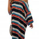 Black Striped Pattern Loose T-shirt Dress