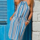 Sky Blue Striped Tank Tunic Dress