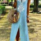 Sky Blue Sleeveless Casual Slit Geometric Summer Dress