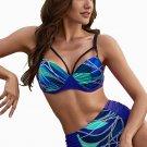 Blue Abstract Chains Print High Waist Bikini