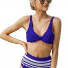 Blue Pom Pom Décor High Waist Bikini