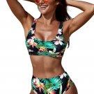 Green U-neckline High Waist Tropical Bkini