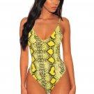 Neon Lime Snake Print Spaghetti Straps Bodysuit